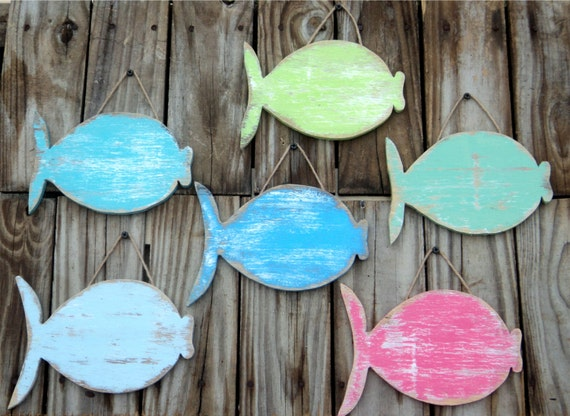 Wooden Coastal Decor: School Of Fish Whimsical Wall Hangings Rustic Beach Decor