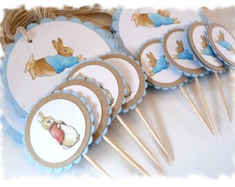 PETER RABBIT Cupcake Toppers - By the Dozen - Featuring Peter and Mopsy - A la Carte Peter Rabbit Party Items