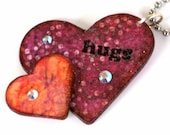 Valentine Keychain Double Hearts Key Chain Decoupaged Heart Keychain Purple Peach Hugs Gifts for Her Gifts Under 10