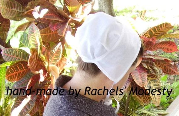 Amish Mennonite Plain Historical Reenacting Basic WHITE Kapp Prayer Covering, Standard Adult Sizing