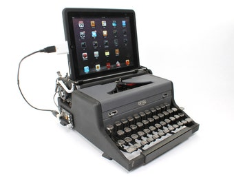 USB Typewriter -- An Upcycled Computer Keyboard and iPad Dock -- Two-Tone Royal Aristocrat