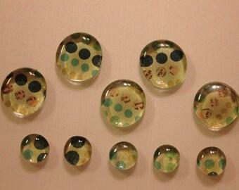 Ten Polka Dot Glass Magnets - blue, green, tan