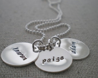 stamped names necklace | 3 names necklace | three names | mom of 3 kids | personalized mothers necklace | push present