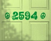 House Number Decal, Hippie Decor Decal, Custom Vinyl Door Decal Peace Sign Symbol Style