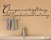 Large Vinyl Wall Decal: Edgar Allan Poe Quote, The Raven, Once upon a midnight dreary while I pondered weak and weary, Halloween Decor