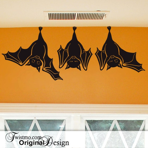 Animal Wall Decal: Cute Hanging Bats, not just for Fall Decorations, Hanging Bats Wall Decal, Halloween Decorations Indoors or Outdoors