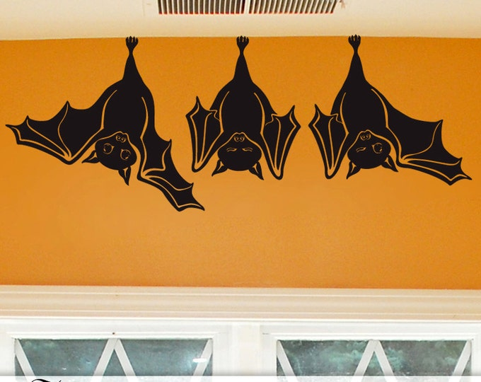 Animal Wall Decal: Cute Hanging Bats, not just for Fall Decorations, Hanging Bats Wall Decal, Decorations Indoors Outdoors (0173a45)