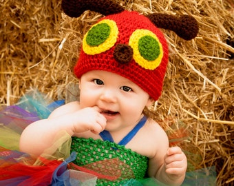 Very Hungry Caterpillar Hat, Crochet Very Hungry Caterpillar Hat, Crochet Caterpillar Hat, 6-12 months, 1-3 years old size. MADE TO ORDER.