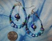 Blue Meanie blue beaded earrings