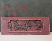 Red Chinese panel, carved wood panel, decorative wood, animals
