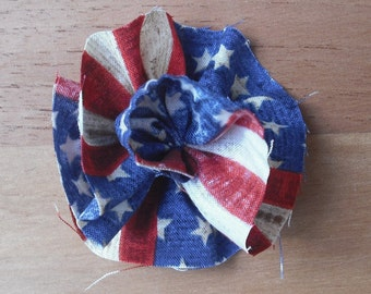 Raw Edge Flower,  American Flag Red, White and Blue  4th of July Memorial day Patrotic