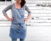 Chambray Cross Back Apron made to order 7-10 Day Production Time