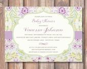 Pastel Purple Watercolor Floral Printable Invitation Baby Shower Lavender Flowers Bridal Shower Invite DIY Aqua Lime Green Lilac Baby Tea
