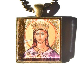 St. Catherine of Alexandria glass pendant for Confirmation or First Communion