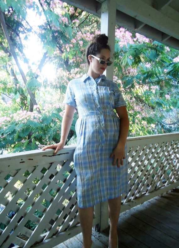 RESERVED for Kristin 1950s plaid dress blue and white checked shirtwaist 50s cute RESERVED