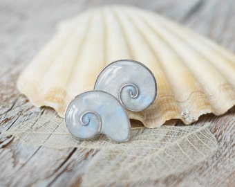 Earring Studs - Light blue seashell