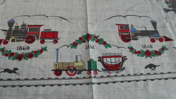 Vintage Red Amp Gray Train Tablecloth