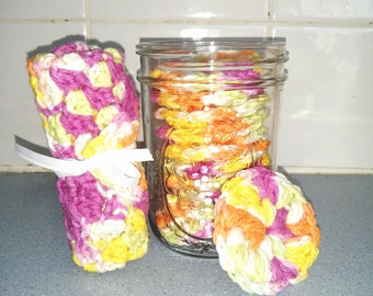 Reusable Crocheted Cotton Scrubbies and Face Cloth