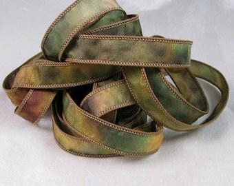 Silk Ribbon - Hand Painted Dyed Silk Jewelry Ribbon Bracelet Wrist Wrap - Quintessence - Camo