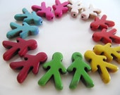 Imitation Turquoise Beads, Human People Shape, 14 Beads, Mixed Colors, Approx. 21mm x 14mm, GB91