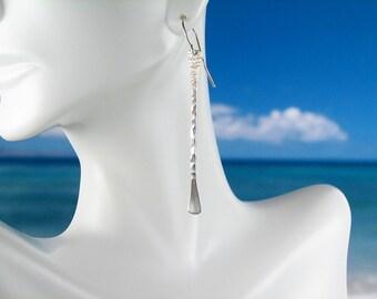 Fine silver earrings, long stick minimalist design, sexy, unique, classic modern fine jewelry