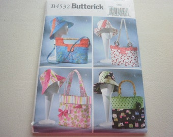 Pattern Ladies Handbags, Totes, and Matching Hat Sets - All Sizes - Butterick 4532