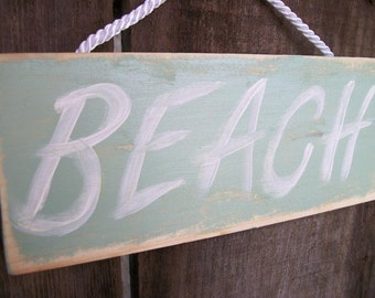 Beach Sign Mint Green Shabby Chic Cottage Style Wood Wall Hanging Beach Decor