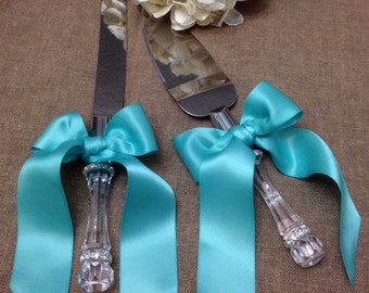 Elegant Engraveable Wedding Cake Cutting Set Cake Server Set Cake Cutter Set Bling Custom Colors