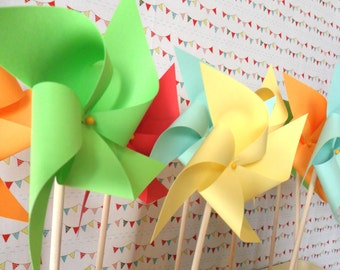 Pinwheels Custom Made to Order Pinwheel Set of 20 for birthday party baby shower bride and bridal shower wedding party favors