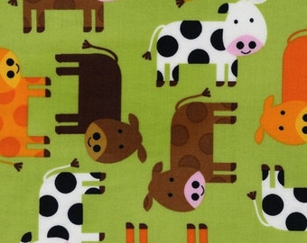 Urban Zoologie Green Cows for Robert Kaufman 1/2 yard