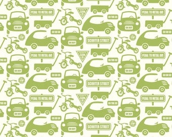 Cruiser Blvd Cars Green by Sheri McCulley Studio for Riley Blake, 1/2 yard