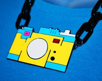 Enameled Camera Necklace