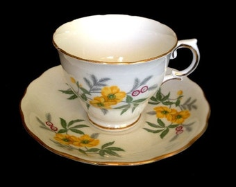 Royal Vale -- Beautiful Vintage Cup and Saucer Set, Might Be Buttercups, Pure White with Gold Flowers,