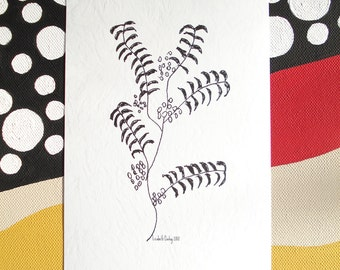 Branch with Leaves and Berries Drawing Black and White Print on Acid Free Cardstock, 7 1/4 x 4 3/4