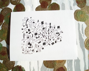 Floating Squares Drawing Black and White Print on Acid Free Cardstock, 5 x 6 1/2