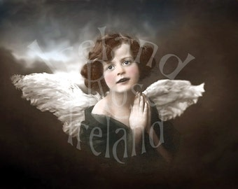 Sweet Angel-Vintage Victorian Postcard-Digital Image Download