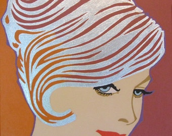 silver haired 60s gal painting