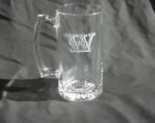 Five Custom Engraved Monogrammed Beer Mugs