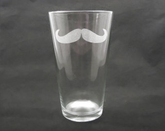 4 Custom Engraved Mustache Pint Glasses for Groomsmen
