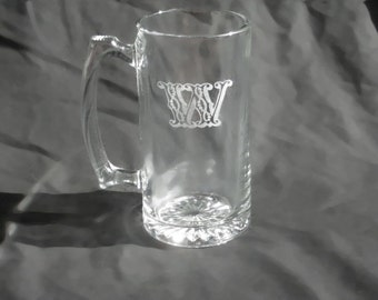 Five Custom Engraved Monogrammed Beer Mugs