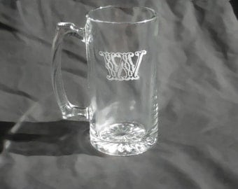 Two Custom Engraved Monogrammed Beer Mugs