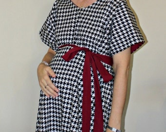LINED Baby Bama Maternity Delivery Gown - for the Alabama Fan - Houndstooth - Can Be Lined in Any Color - By Mommy Moxie on Etsy