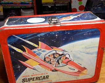 1962 Independant Television corp Mike Mercury supercar orbital  food metal lunch box lunchbox