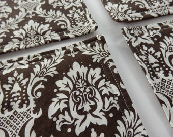 Brown Damask Coasters, French Country Mug Rugs,  Fabric Coasters, Absorbent Drink Holder, Handmade in NJ