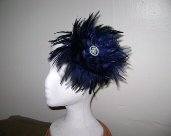 Navy Blue Classic Feather Fascinator Headband Hat