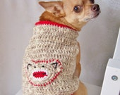 Crochet Dog Sweater, Sock Monkey Sweater, Sweater for Small Dogs - You Choose Color