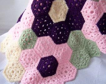 Crochet Throw, Crochet Baby Blanket, Crochet Flower Blanket, Newborn