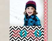 XOXO Chevron Valentines Day Custom Double-sided Photo Card (Printable Digital File or Printed) - Black, White, Coral, Turquoise