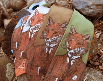 SILK Fox Tie - Dapper Fox Necktie - Men's Fox Tie