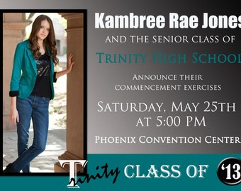 Customized Graduation Annoucement Invitation 5x7 or 4x6